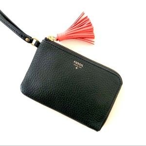 Fossil Black Leather Wristlet Wallet Pink Tassel